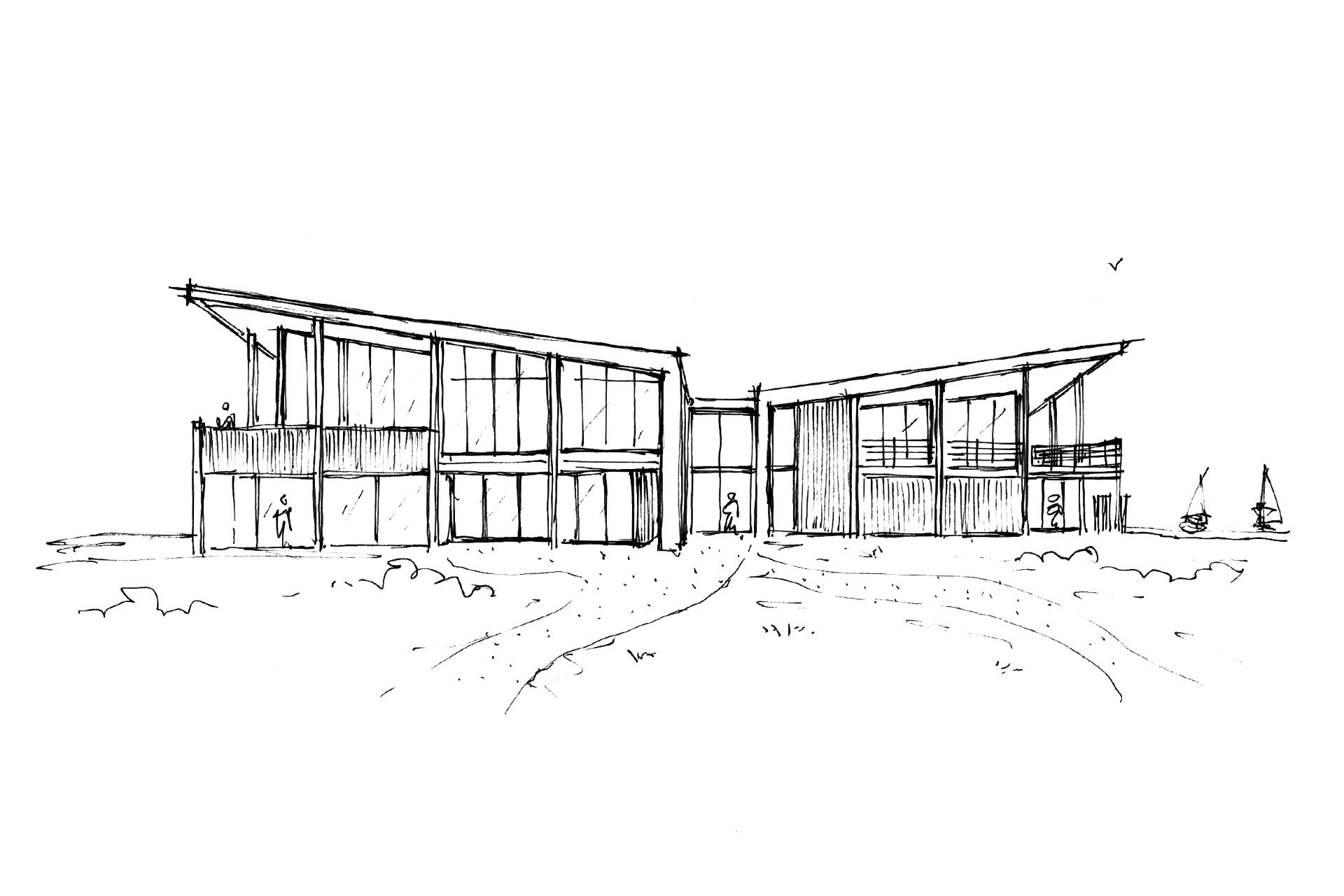Zeil- en Surfcentrum (Brouwersdam) - architectuur schets