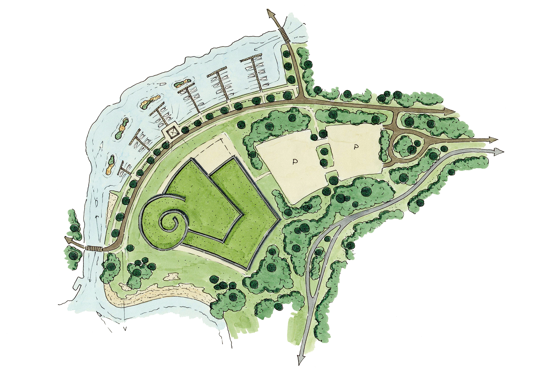 Ter Hills Holiday Resort (België) - architectuur planconcept schets centrumgebouw