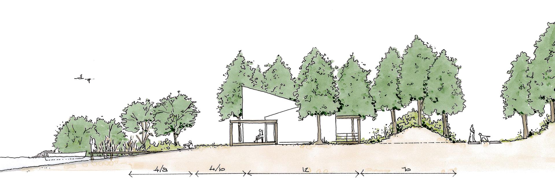 Ter Hills Holiday Resort (België) - architectuur planconcept schets vakantiewoningen doorsnede