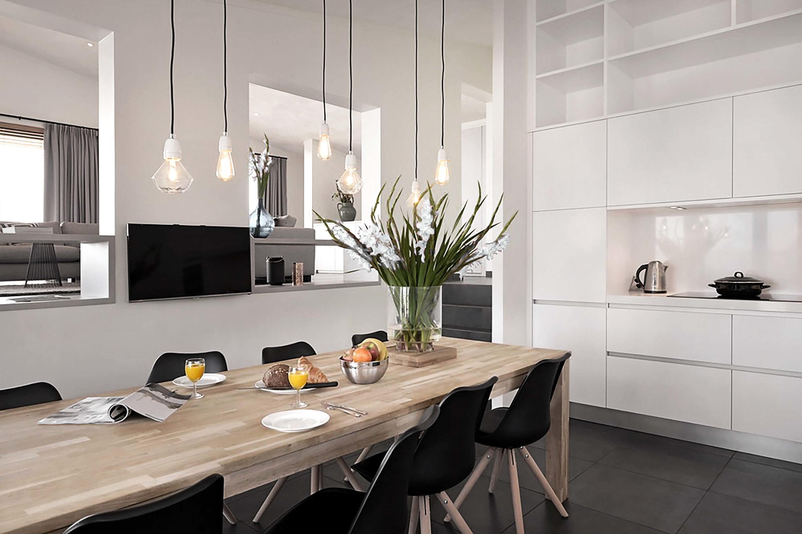 Strandvilla - interieurontwerp split-level keuken en woonkamer