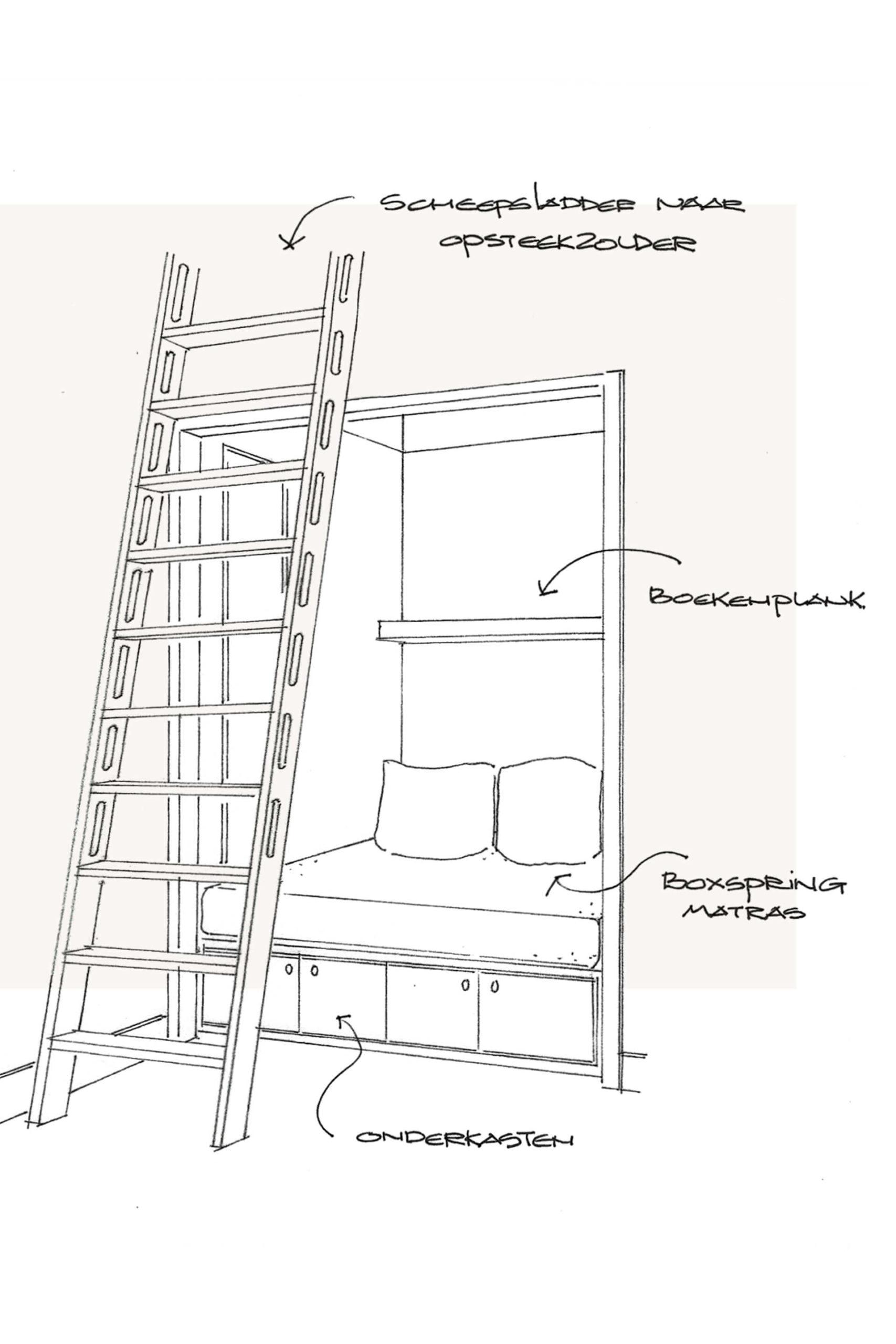 Strandvilla – interieurontwerp schets van bedstee