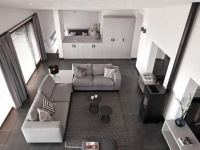 Interieurontwerp woonkamer Strandvilla gezien vanaf de vide